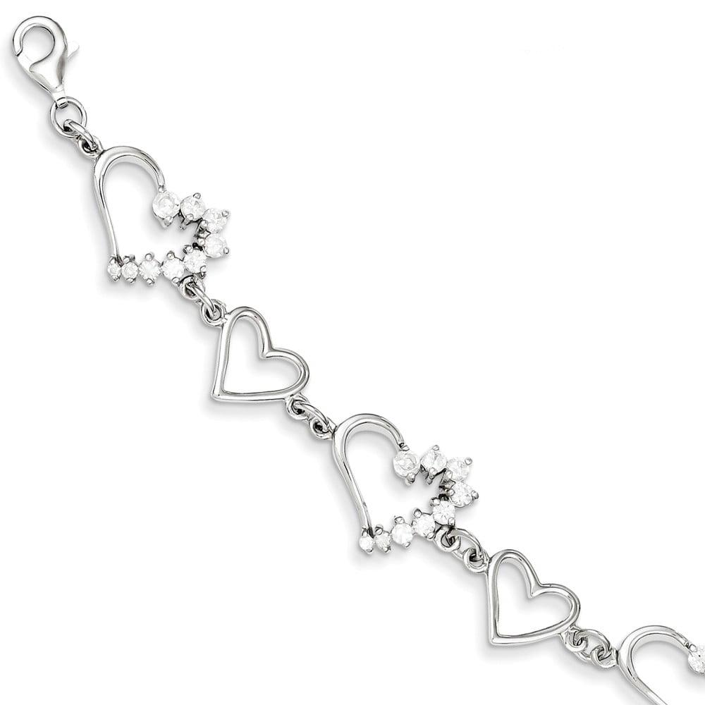 925 Sterling Silver White Synthetic Cubic Zirconia Heart Bracelet