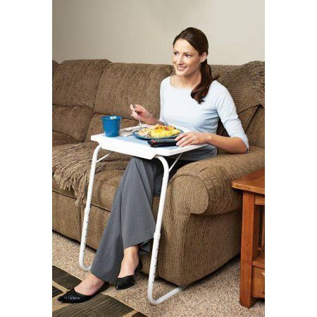 Folding Sofa Side Snack Table Height Adjustable Breakfast TV Tray Portable Lifting Laptop Desk Overbed Table with Tilting Top ()