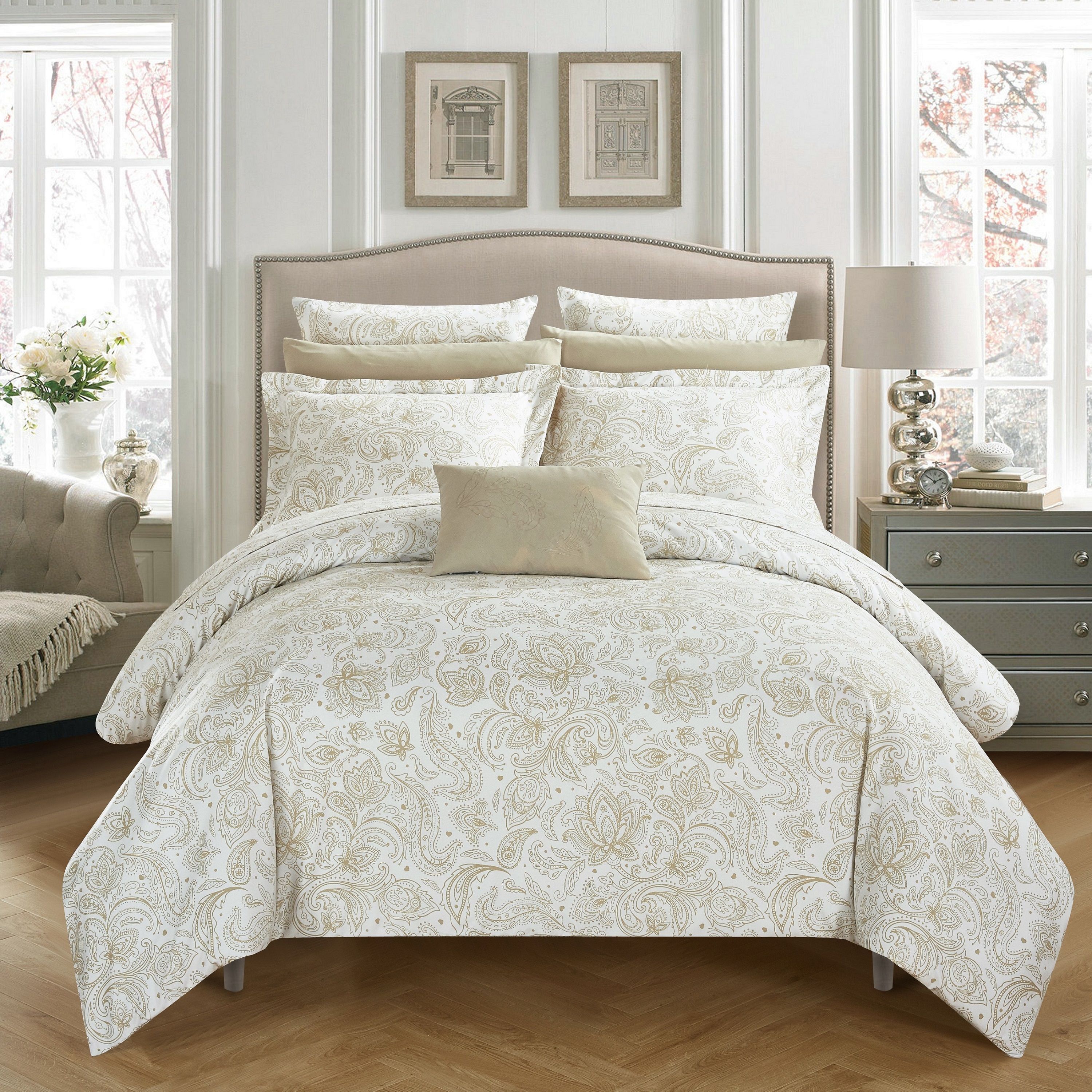 Chic Home 10-Piece Newark Park Super Soft Microfiber Vintage Paisley pattern Printed two tone Bed In a Bag Duvet Set Brick with coordinating sheet and 2 bonus pillow cases.