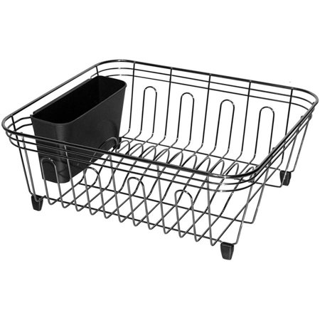 Black Dish Drainer - Real Home Small Black, Chrome Dish Drainer