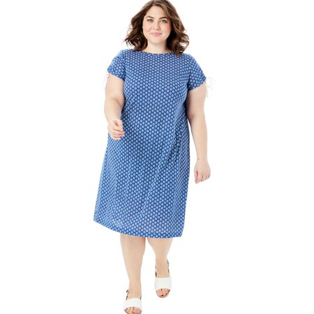 Woman Within Plus Size Ruched Sleeve Tee Dress