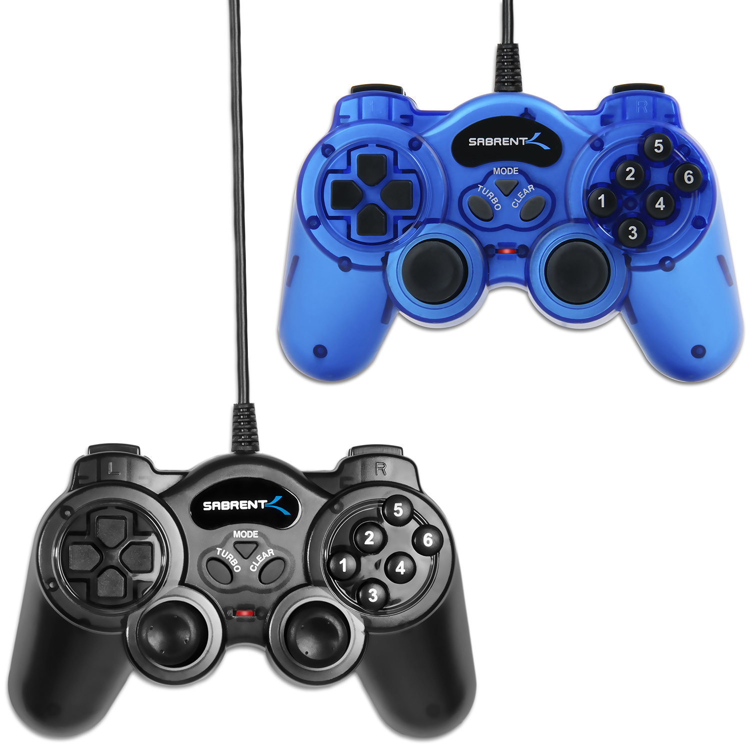 Sabrent 12 Button Programmable USB 2.0 Game Controller For PC - 2 Pack