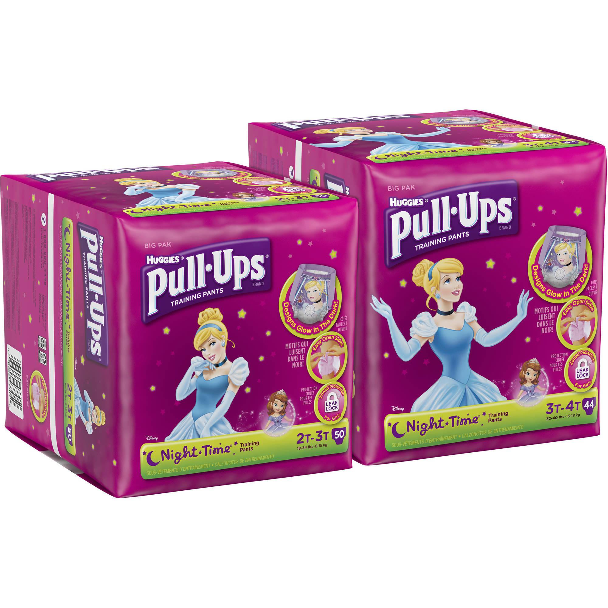 HUGGIES Pull-Ups Girls' Night-Time Training Pants, Big Pak, (Choose Your Size)