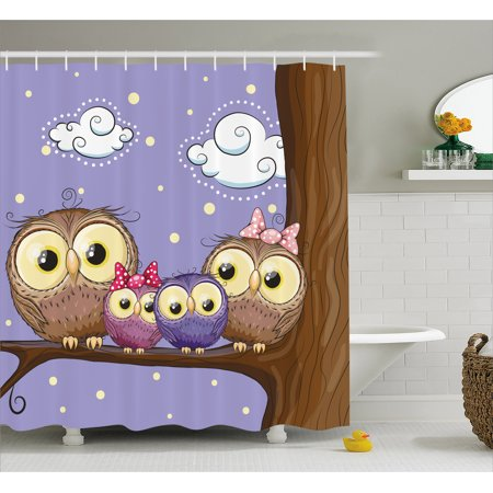 Kids Shower Curtain, Cartoon Style Owl Bird Family Mother Father Daughter Son Sitting on a Branch, Fabric Bathroom Set with Hooks, Brown and Lavander, by Ambesonne - Mom Shower