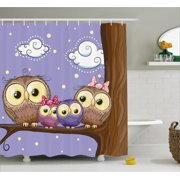 Kids Decor Shower Curtain Cartoon Style Owl Family Mother Father Daughter Son Sitting On A