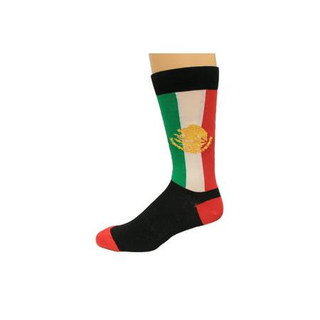 K. Bell Men's Mexican Flag Crew Socks, Black, Sock Size 10-13/Shoe Size 6.5-12, 1