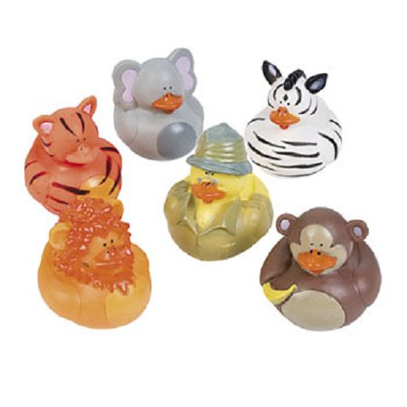 Lot of 12 Safari Jungle Ducks Rubber Ducky Zoo Animal Party Favors ()