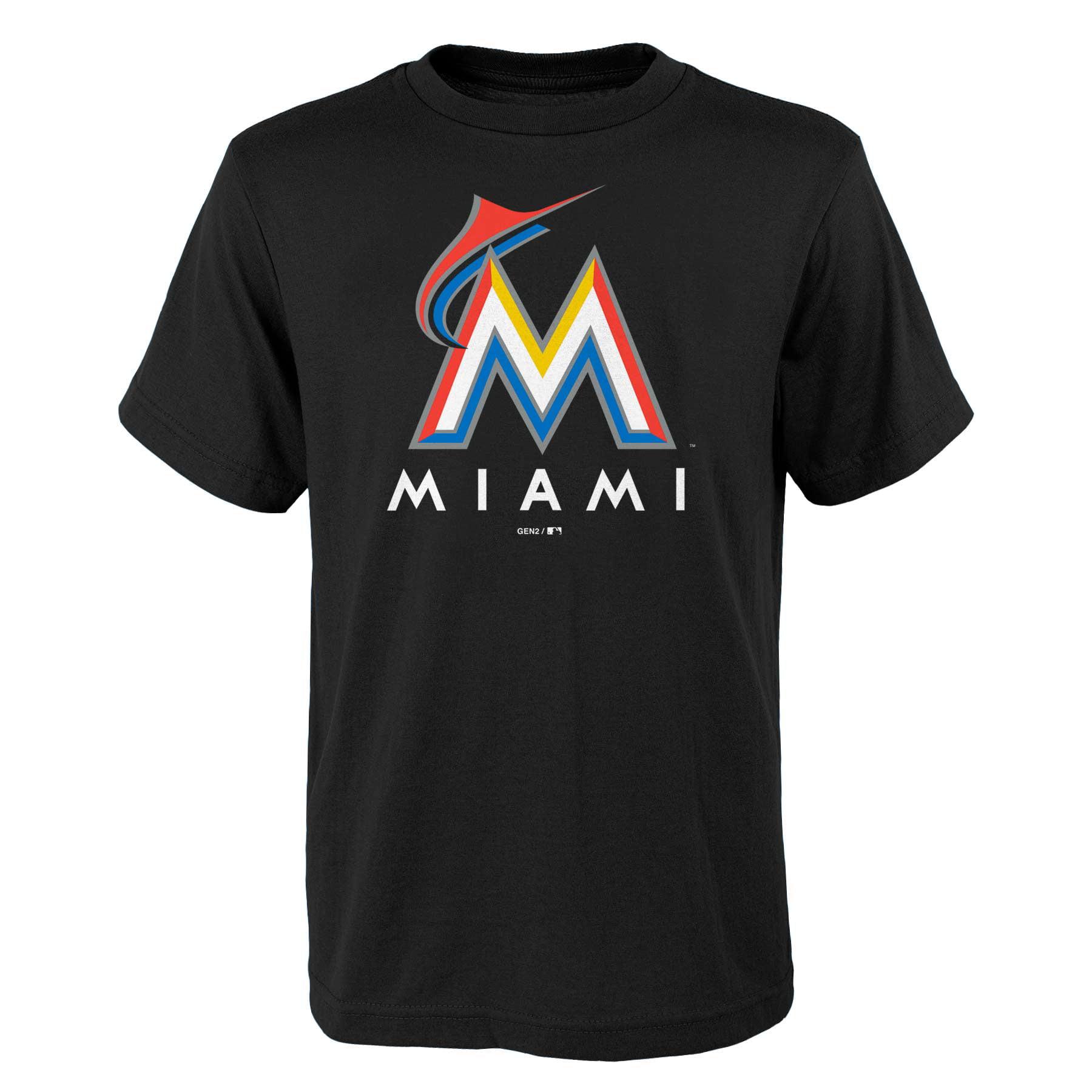 Miami Marlins Youth Primary Logo T-Shirt - Black
