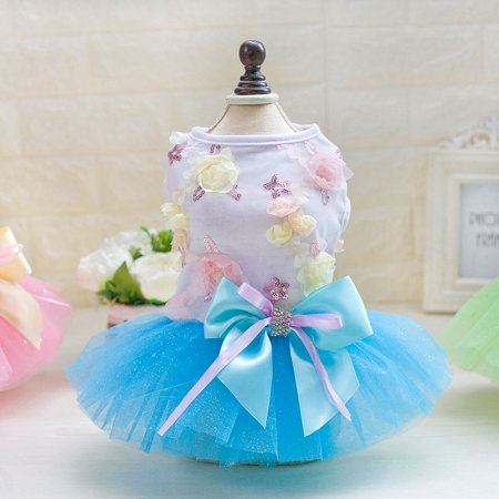 Unique BargainsPet Small Dog Dress Puppy Lace Princess Tutu Skirt Summer Costume Blue XS - Blue Tutu Costumes