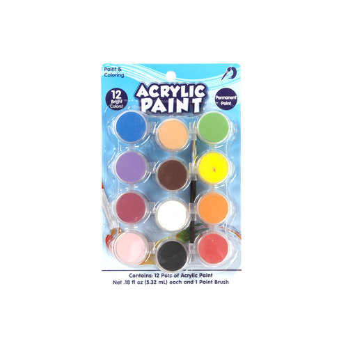 Kids Craft Acrylic Paint, 12 Pots