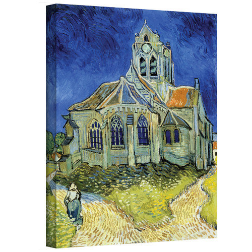 """ArtWall Vincent van Gogh """"The Church at Auvers"""" Wrapped Canvas Art"""
