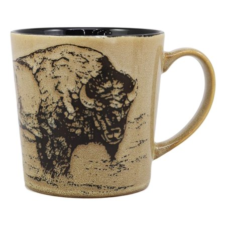 Ebros Sacred Lightning American Buffalo Bison Drinking Beverage Ceramic Mug 16oz Drink Coffee Cup Glazed Earthenware Kitchen And Dining Accessory Decor For Bisons Buffaloes Wildlife Grazing Animals