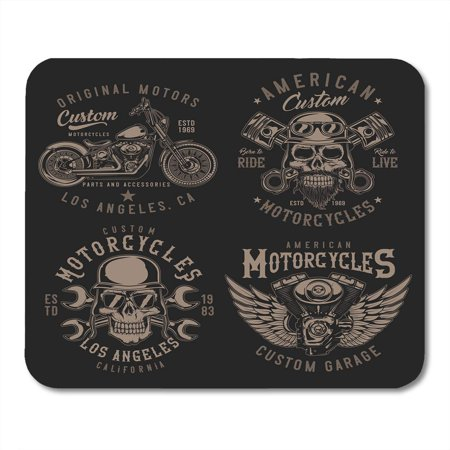 KDAGR Bike Black Biker of Vintage Emblems Badges with Motorcycle Engine Parts and Biker