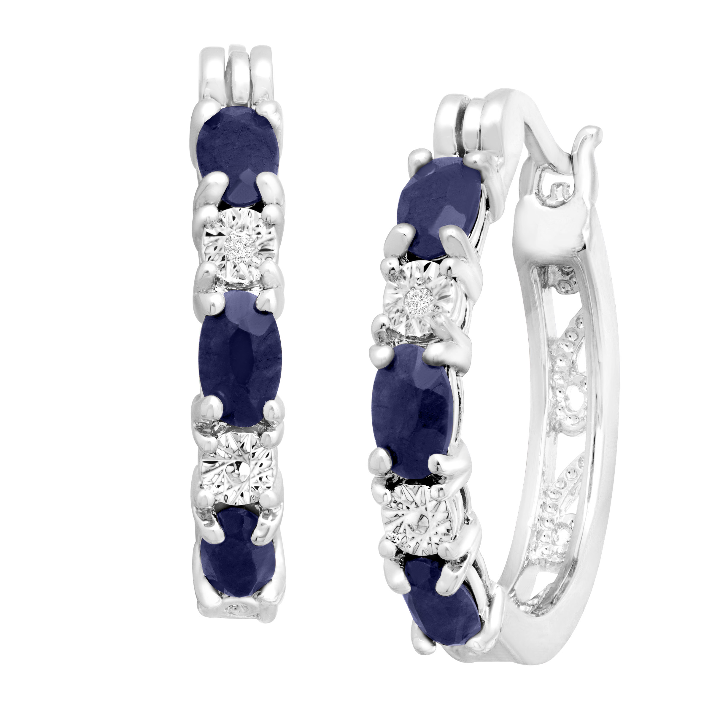 2 1/10 ct Natural Sapphire Hoop Earrings with Diamonds in Platinum-Plated Brass, .875""