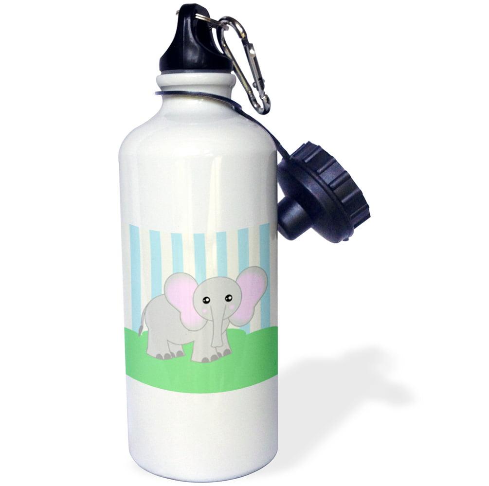 3dRose Baby Animals Blue Elephant, Sports Water Bottle, 21oz