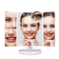 Trifold LED Lighted Makeup Mirror with 10X Magnification Dimmable Vanity Mirror Removable Base, 180° Rotatable Portable Travel Cosmetic Mirror USB/Batteries Powered Countertop Bathroom