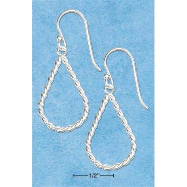Sterling Silver Small Twisted Rope Teardrop Earrings On French Wire S