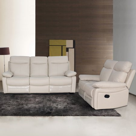 Ryker Collection Contemporary 2-Piece Upholstered Leather Living Room Set  with Reclining Sofa and Loveseat, Taupe