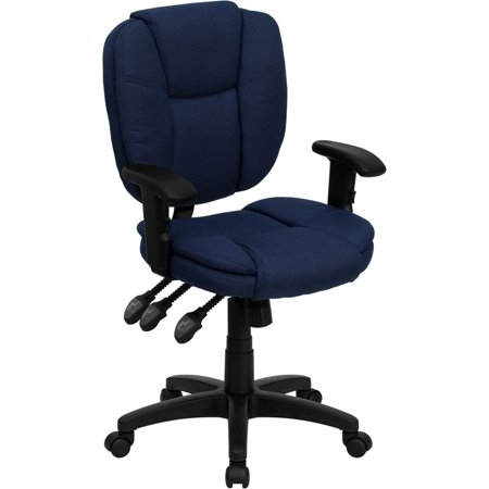 Mid-Back Navy Blue Fabric Multifunction Ergonomic Swivel Task Chair with Adjustable Arms - GO-930F-NVY-ARMS-GG Blue Fabric Ergonomic Task Chair