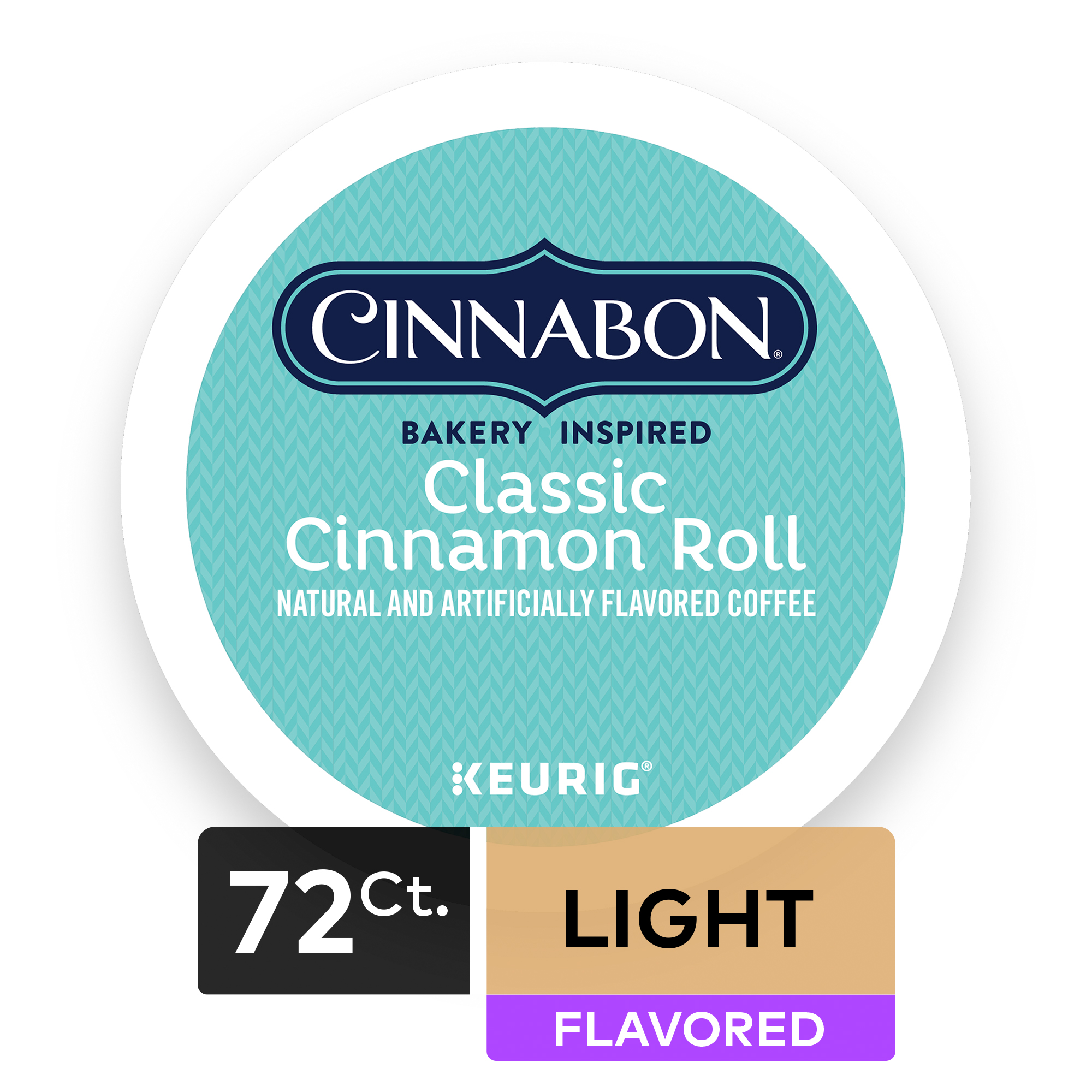 (4 Pack) Cinnabon Classic Cinnamon Roll, Coffee Keurig K-Cup Pods, Light Roast, 18 Count