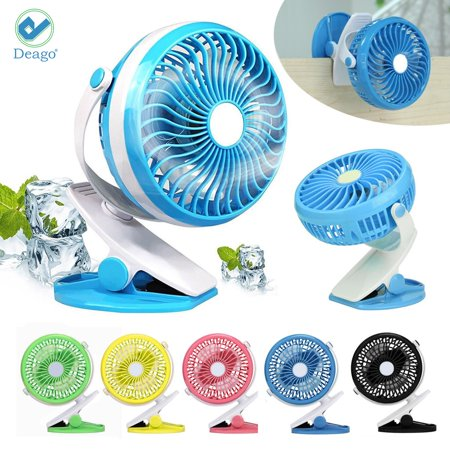 Deago Portable Battery Operated Clip on Mini Desk Fan 360°Rotation Cooling USB Rechargeable for Car baby Stroller Camping - Battery Operated Fan And Light