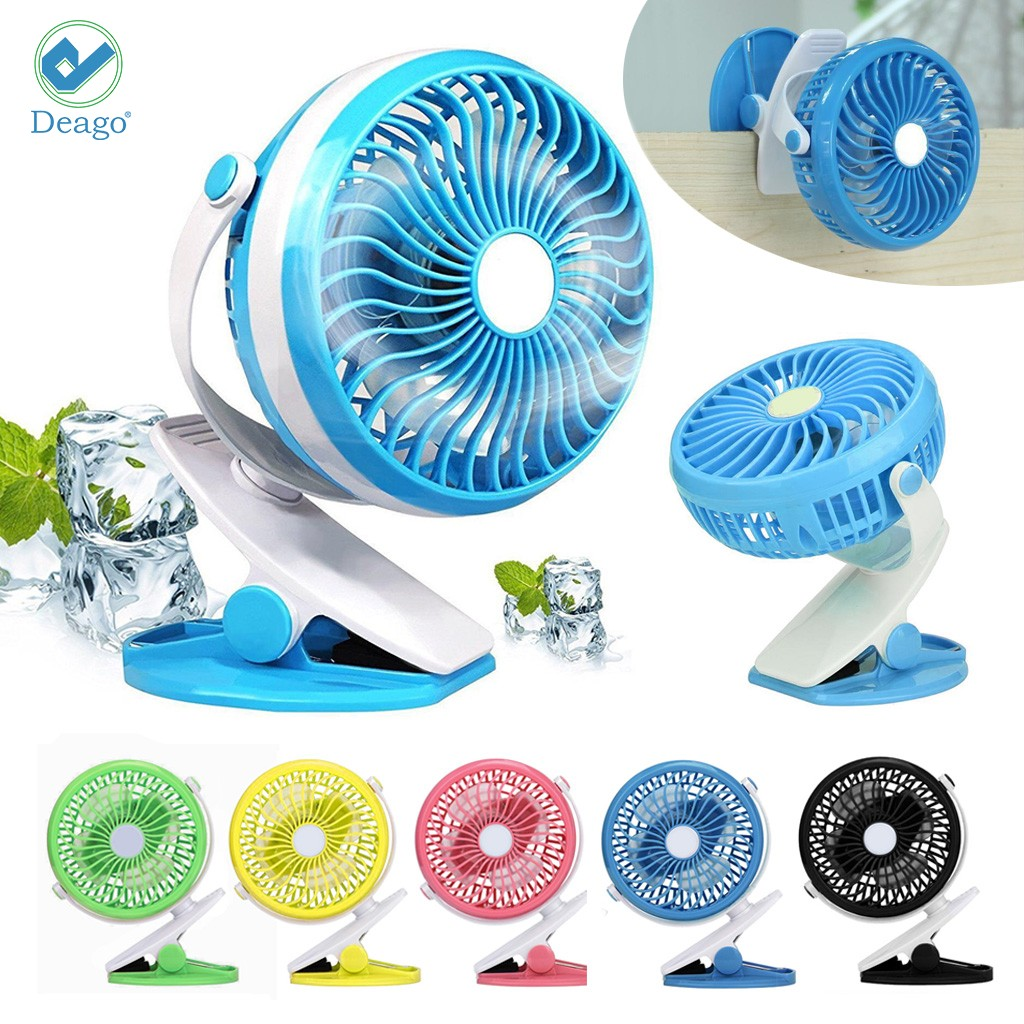 Deago Portable Battery Operated Clip on Mini Desk Fan 360°Rotation Cooling USB Rechargeable for Car baby Stroller Camping