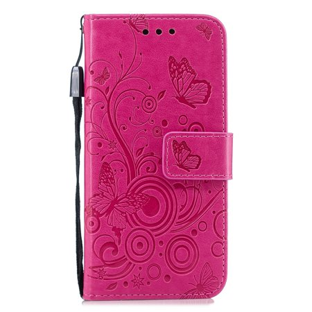 iPhone 6+ 6S+ Wallet Case, Allytech Embossed Floral Butterfly PU Leather Stand Case with Magnetic Closure Full Body Protector Stand Cover for iPhone 6 Plus iPhone 6S Plus 5.5-inch Phone, Rose ()