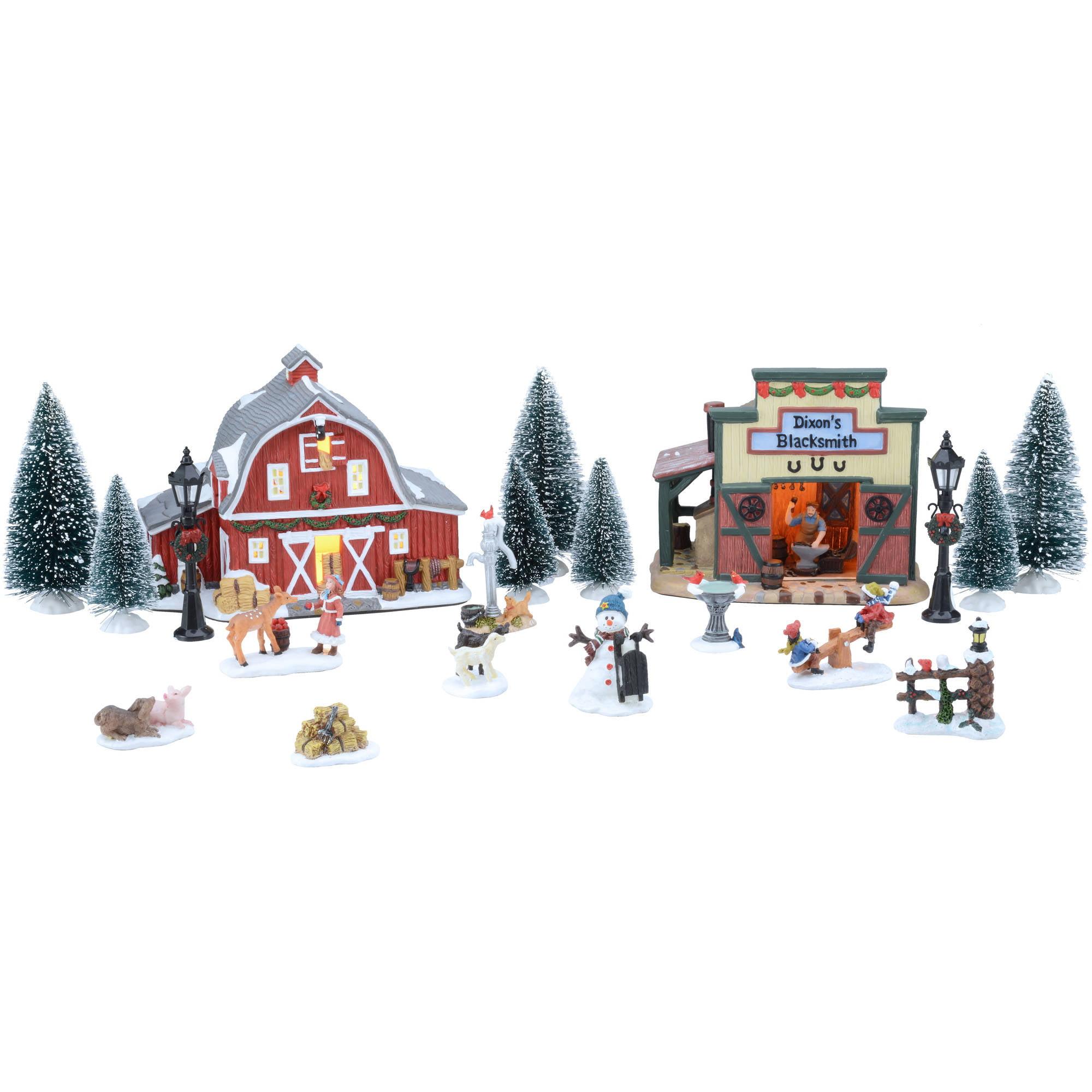Holiday Time 20-Piece Country Set Christmas Village - Walmart.com