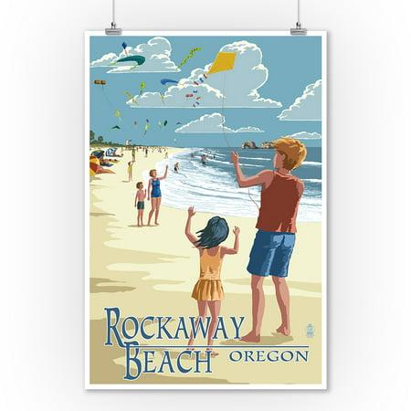 Rockaway Beach, Oregon - Kite Flyers - Lantern Press Artwork (9x12 Art Print, Wall Decor Travel