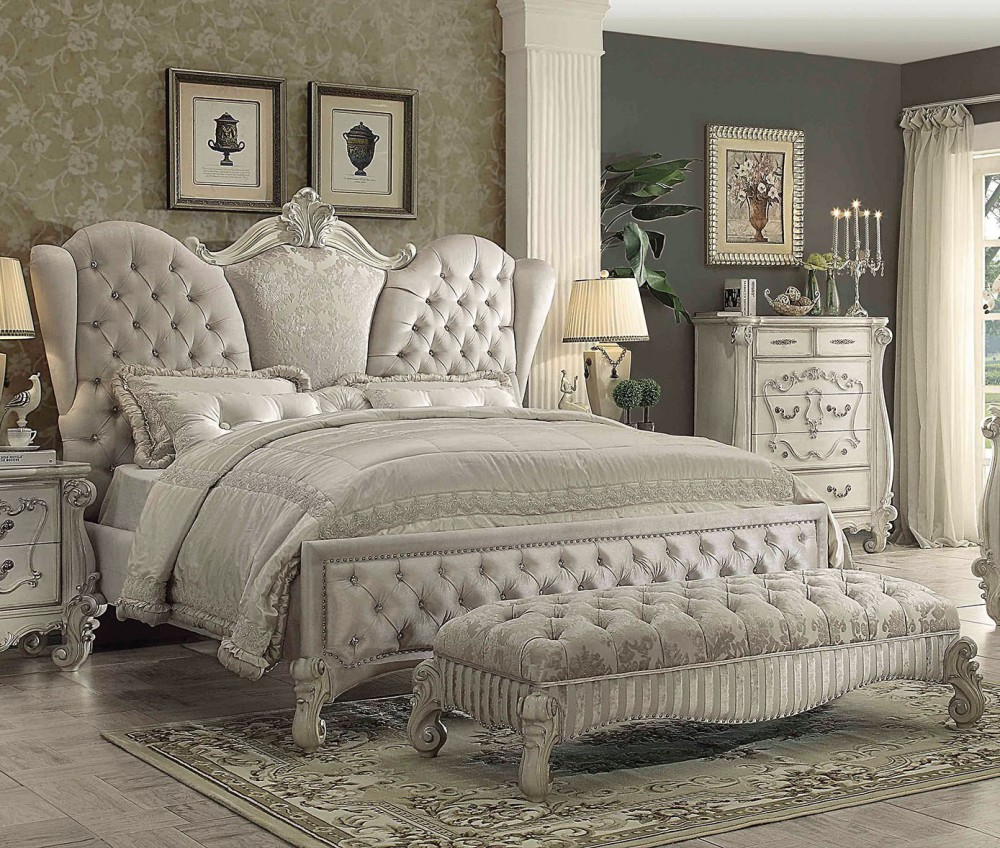 1PerfectChoice Versailles Ivory Velvet Bone White King Sleigh Bed by 1PerfectChoice