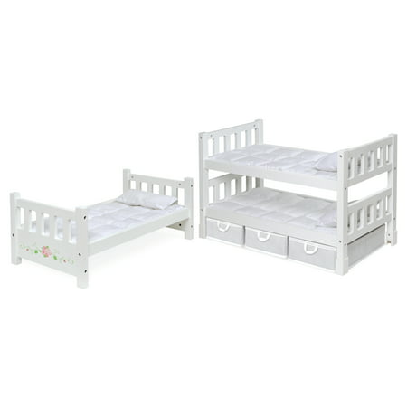 """Badger Basket 1-2-3 Convertible Doll Bunk Bed with Bedding, Baskets, and Free Personalization Kit - White Rose - Fits American Girl, My Life As & Most 18"""" Dolls"""
