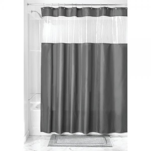interdesign fabric shower curtain with clear window for bathroom 72 x 72 charcoal clear. Black Bedroom Furniture Sets. Home Design Ideas