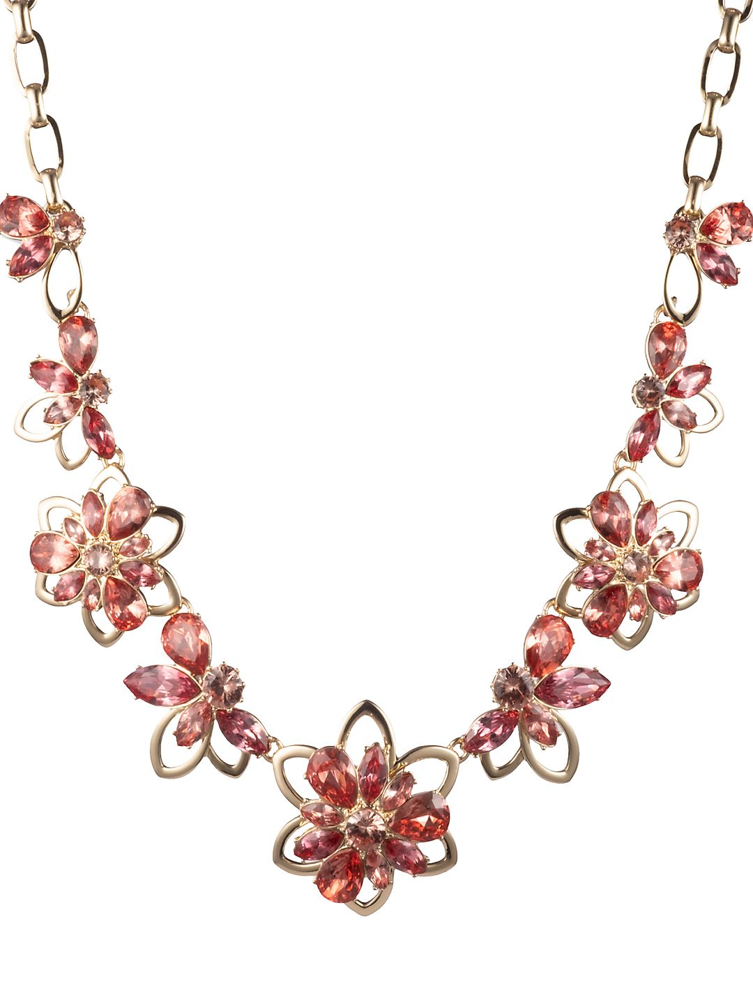 Goldtone and Cubic Zirconia Floral Frontal Necklace