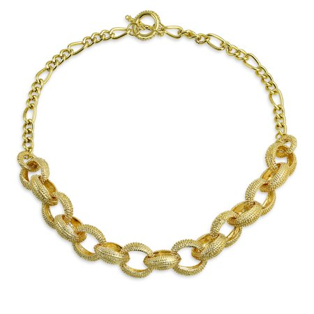 Large Round Silk Pendant - Large Round Chain Link Fashion Statement Chain Necklace For Women For Teen 14K Gold Plated Brass 18 Inch