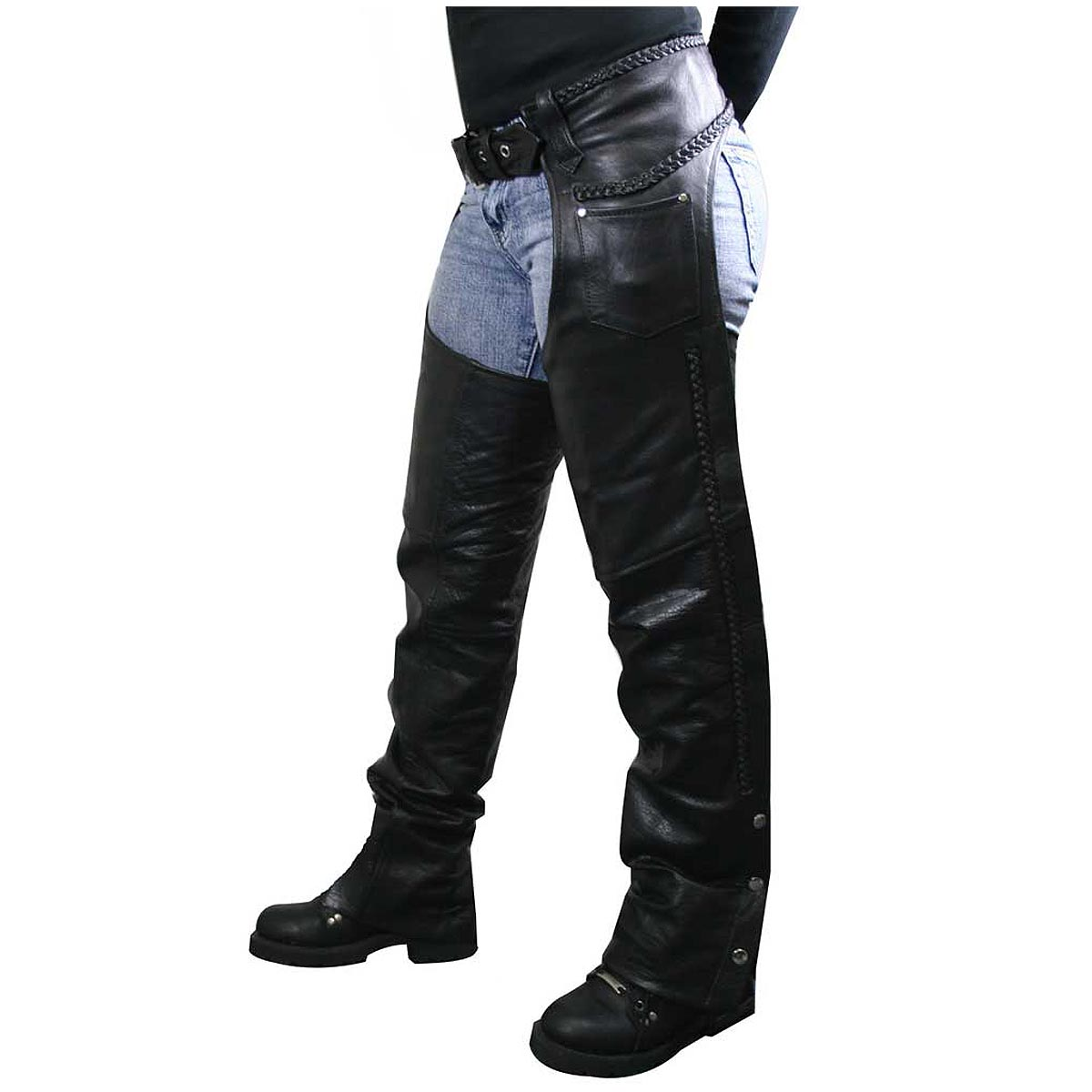 Xelement 7701 Womens Black Braided Leather Chaps