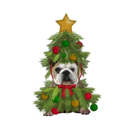 English Bulldog, Christmas Tree Costume Print By Fab Funky - Christmas Tree Costumes