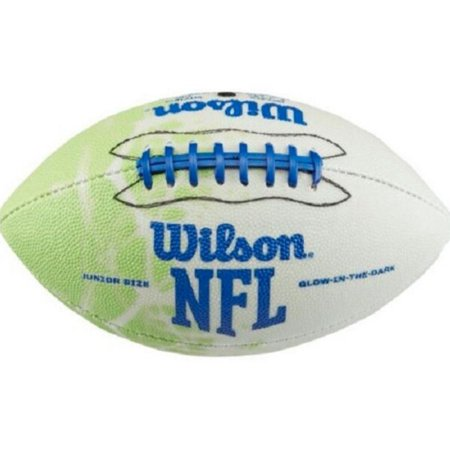 Green Collegiate Football (Wilson Glow in Dark Illuminator Football Junior Size 9-Up Double Lace WTF1615XD)