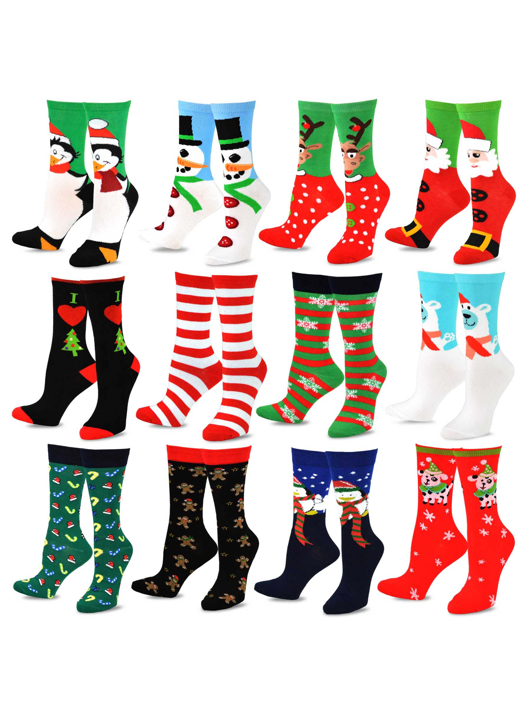 Teehee Socks Christmas Holiday 12 Pack Gift For Women With Box
