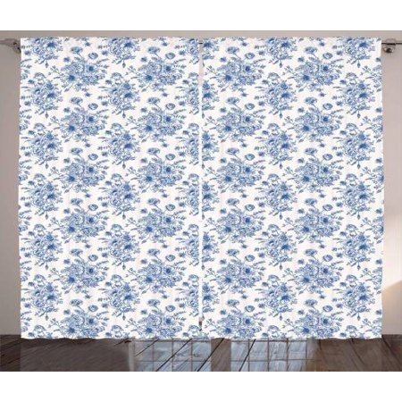 Blue and White Curtains 2 Panels Set, Sketchy Roses Anemones and Eustoma in  Blue Shades Romantic Vintage Bouquet, Window Drapes for Living Room