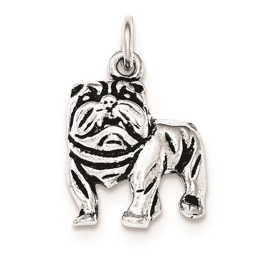 925 Sterling Silver Antiqued Bulldog Polished Open-back Charm Pendant
