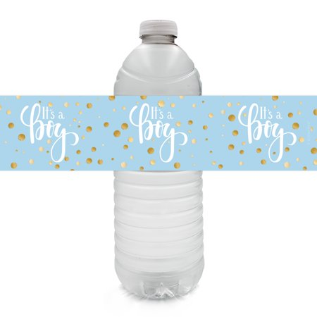 Hanging Decorations For Baby Shower (Gold Boy Baby Shower Water Bottle Labels 24ct - Blue and Gold Its a Boy Baby Shower Decorations Favors - 24 Count Sticker)