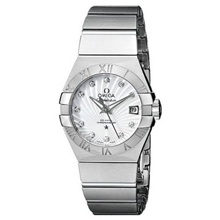 OMEGA Women's 27mm Steel Bracelet & Case S. Sapphire Automatic MOP Dial Analog Watch 12310272055001