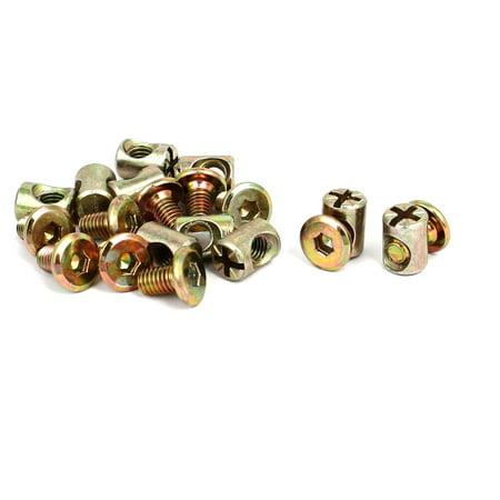 M6x10mm Hex Socket Drive Head Furniture Connecting Bolts w Barrel Nuts 10 Sets - image 4 de 4