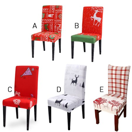 Christmas Chair Cover Elastic Cartoon Pattern Folding Deer Chair Back Covers Decoration Holiday Party ()