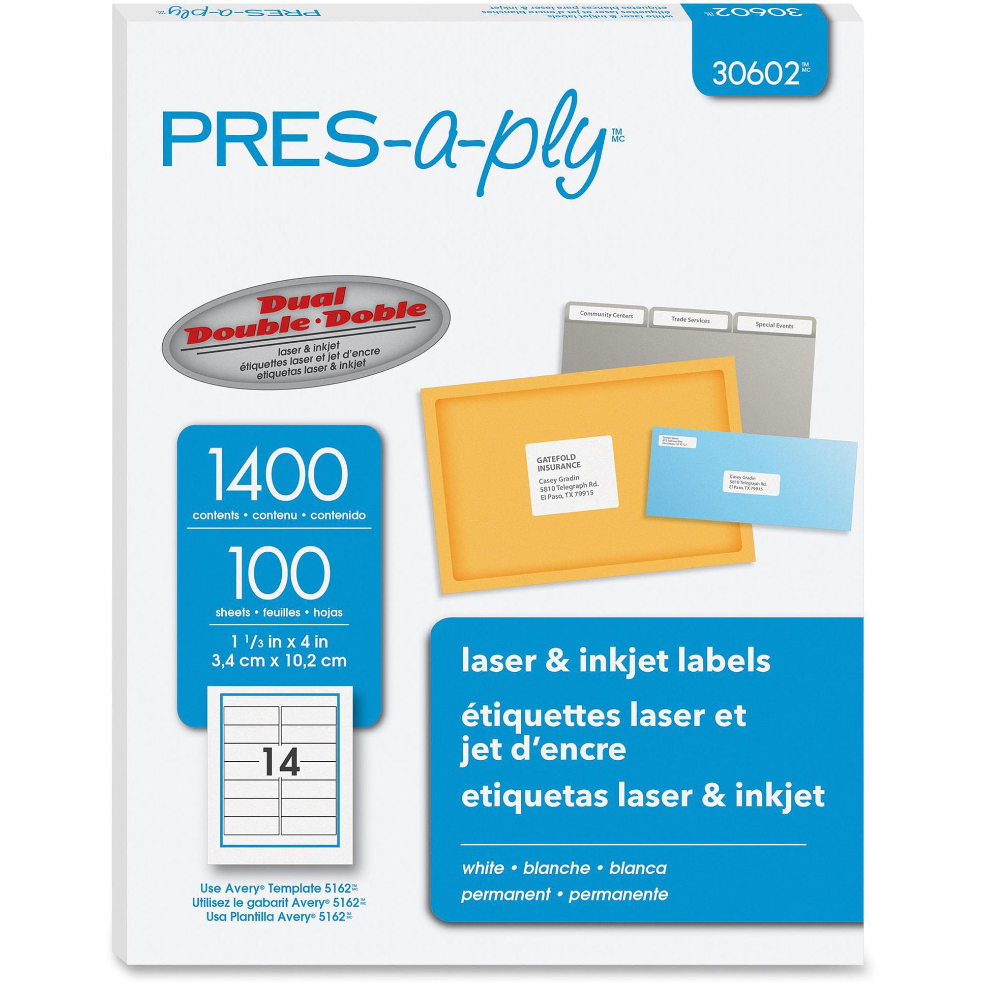 PRES-a-ply Laser Address Labels, 1 1/3 x 4, White, 1400/Box