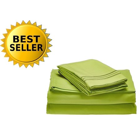 1800 Series Egyptian Quality Super Soft Wrinkle Resistant & Fade Resistant Beautiful Design on Pillowcases 4-Piece Sheet set, Deep Pocket Up to 16inch, Queen Lime,.., By Celine Linen ()