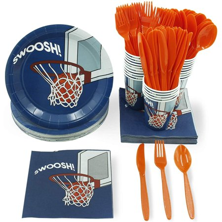 Beach Themed Dinnerware (Juvale Basketball Party Supplies – Serves 24 – Includes Plates, Knives, Spoons, Forks, Cups and Napkins. Perfect Basketball Birthday Party Pack for Kids Basketball Sport Themed)