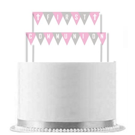 First Communion Pink Ribbon Cake Decoration Banner](Communion Banners)