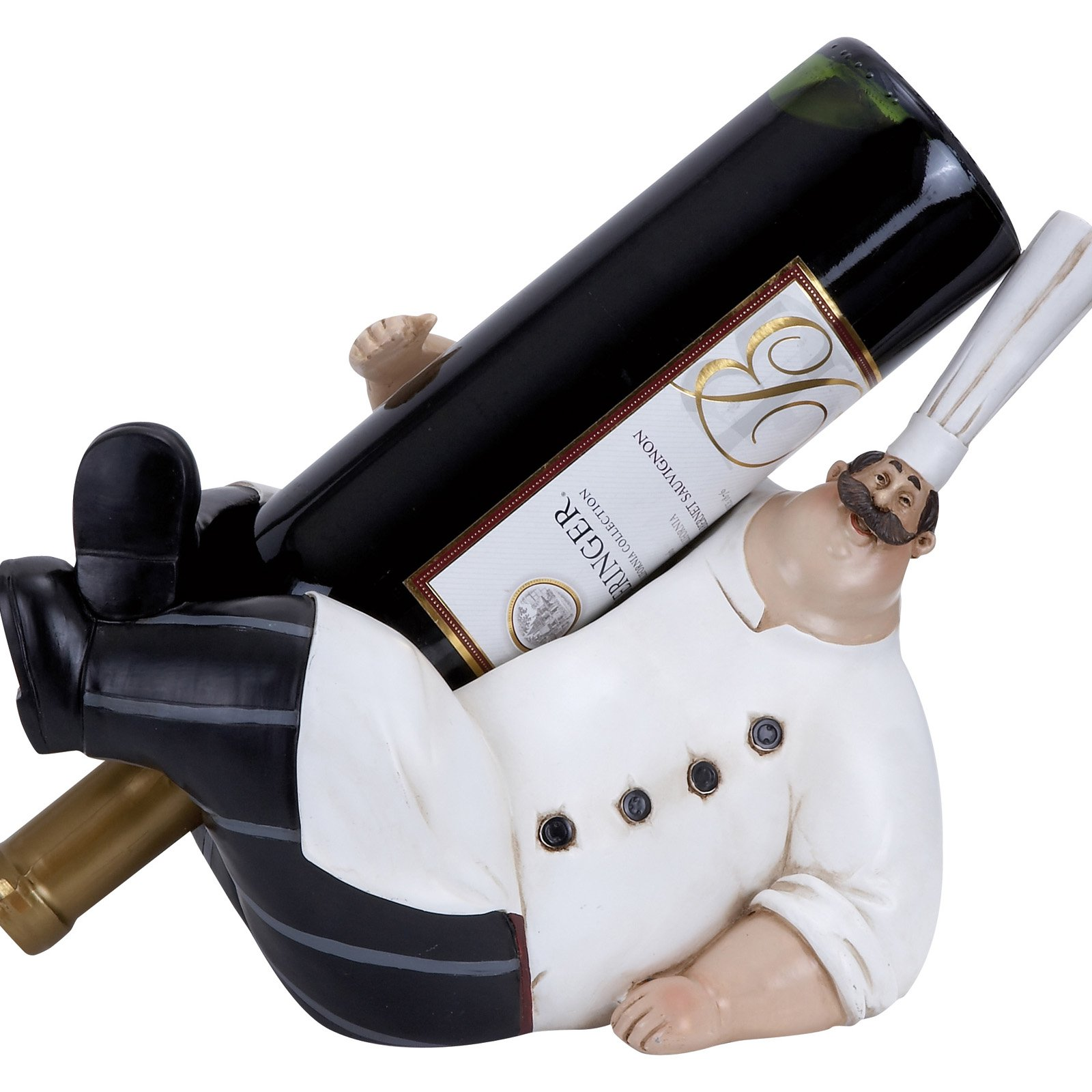 Fat Chef Lorenzo Polystone Chef  In Wine Bottle Holder