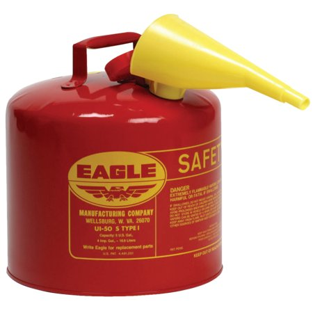 Eagle Mfg Type l Safety Cans, Gas, 2 gal, Red, Funnel